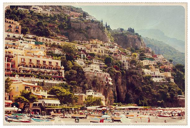 Positano Spiaggia Grande Beach - Vintage Postcard stock photo