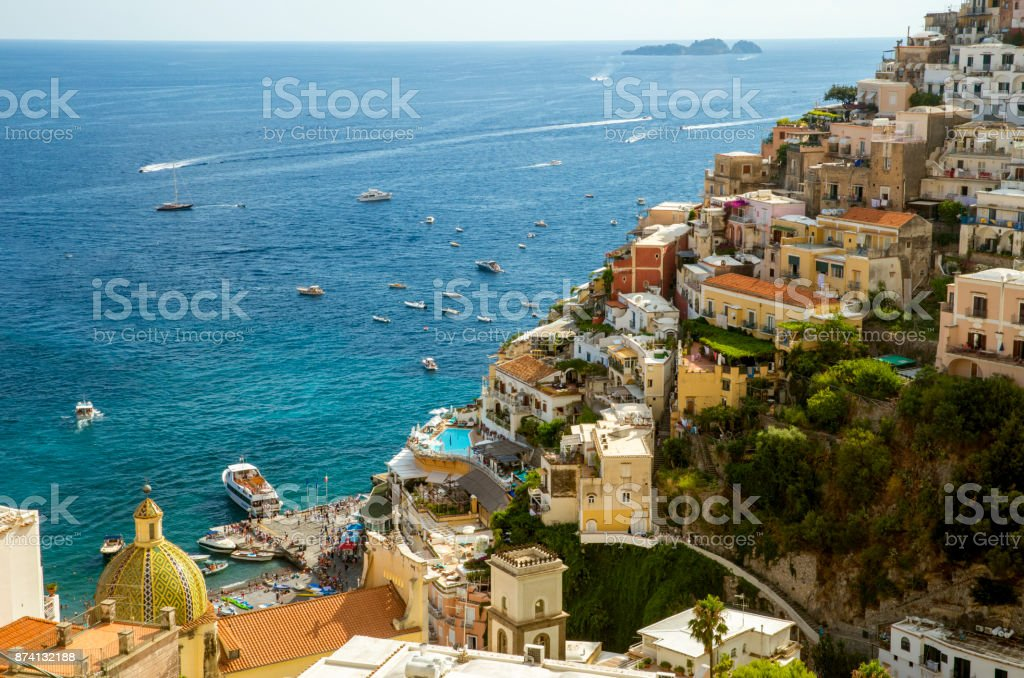 Positano town on Amalfi coast, Campania, Italy stock photo