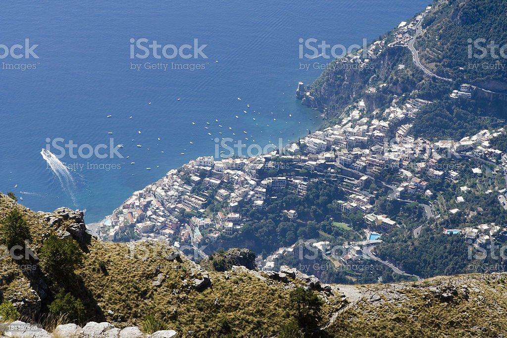 Positano Village Beyond the Rocks of Mount Faito royalty-free stock photo