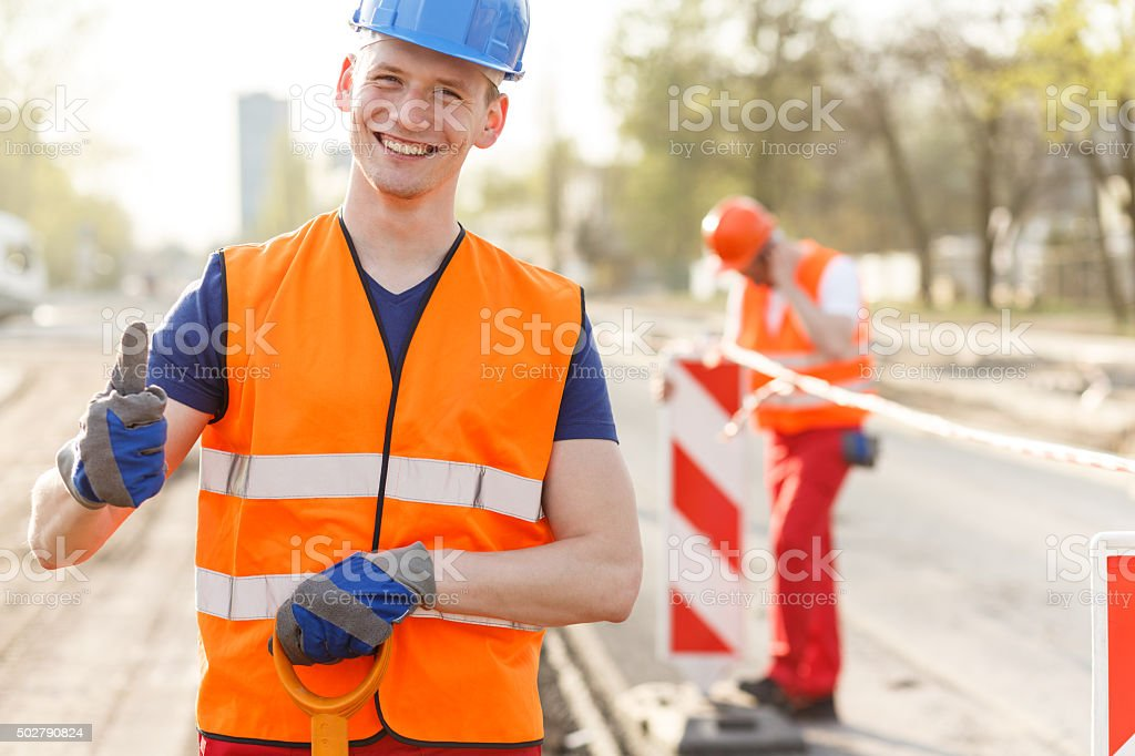 Positive atmosphere in work stock photo