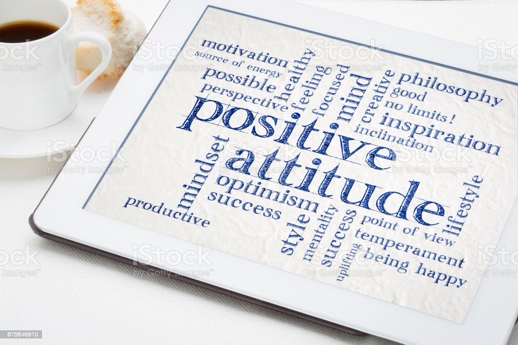 positive attitude word cloud on tablet royalty-free stock photo
