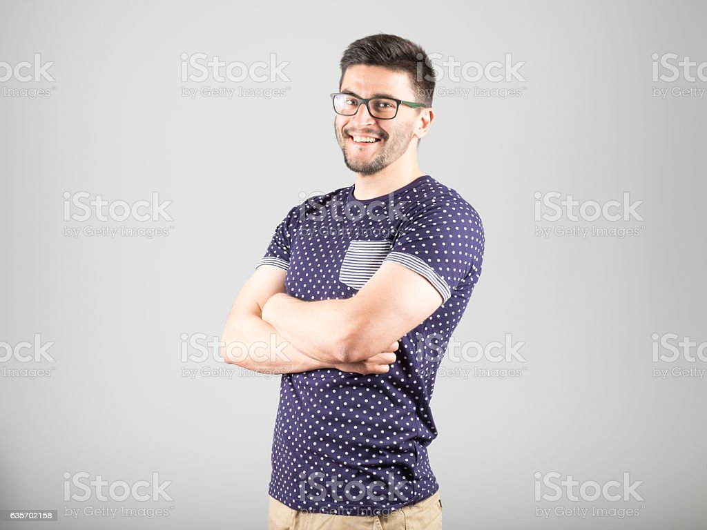 Positive bearded man royalty-free stock photo
