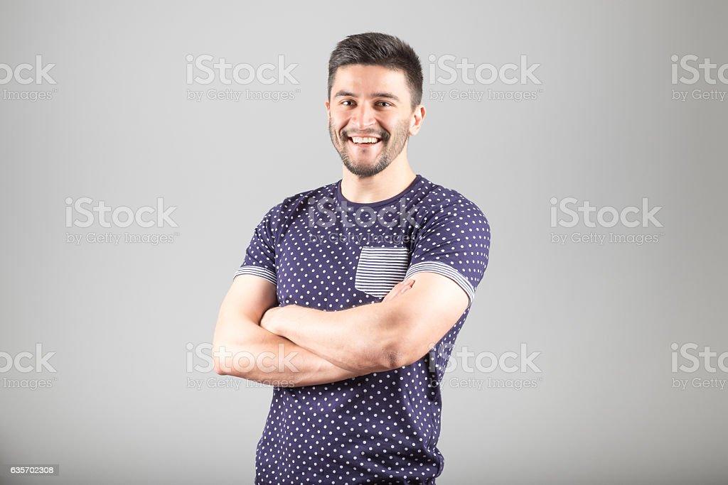 Positive bearded man royalty-free stock photo