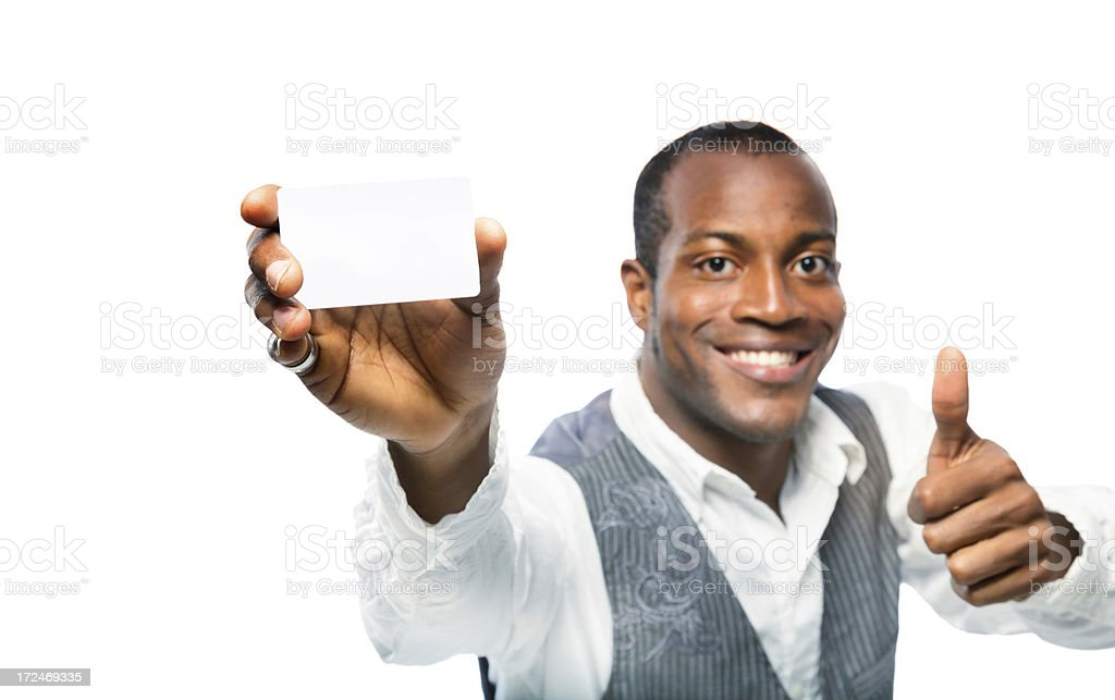 Positive Black Man Showing Blank Card Thumbs Up royalty-free stock photo