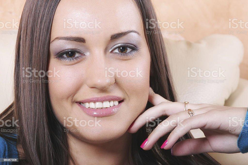 Positive brunette woman royalty-free stock photo