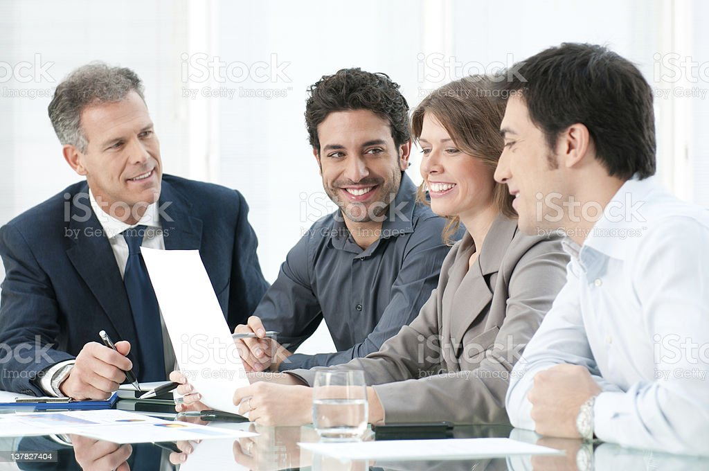 Positive business discussion royalty-free stock photo