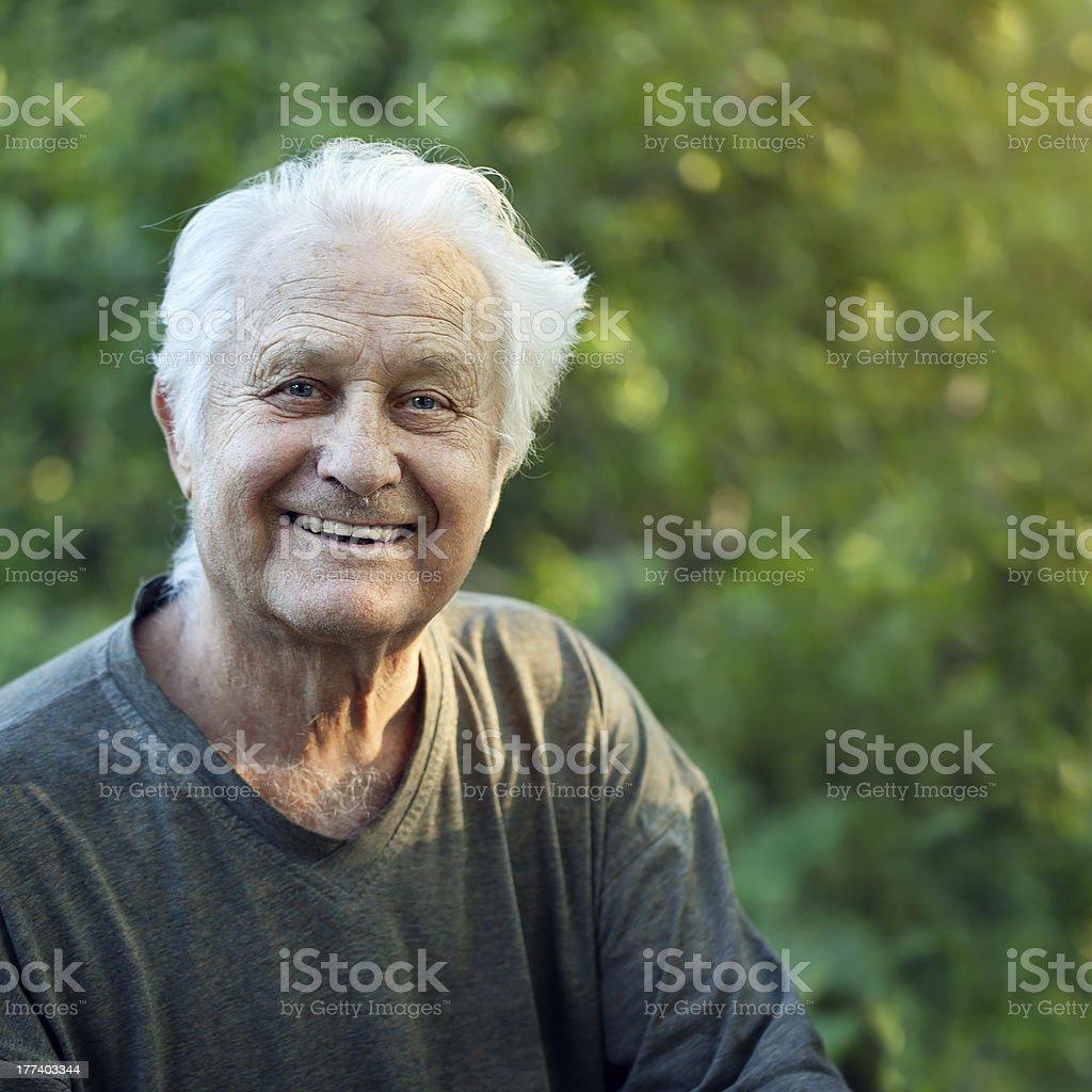 positive elderly man stock photo
