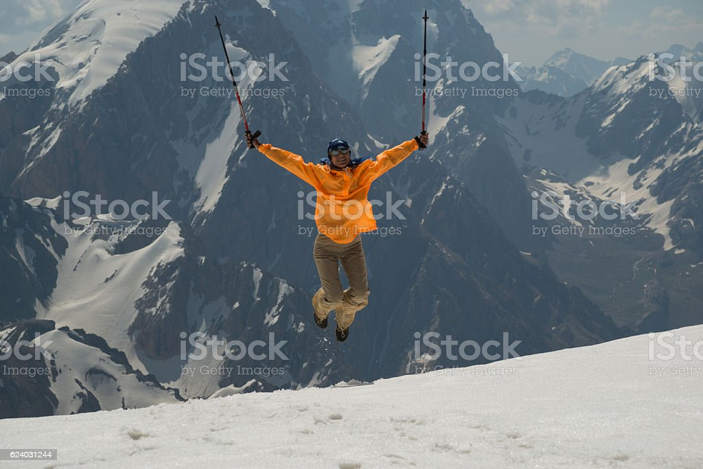 positive emotions in mountains stock photo