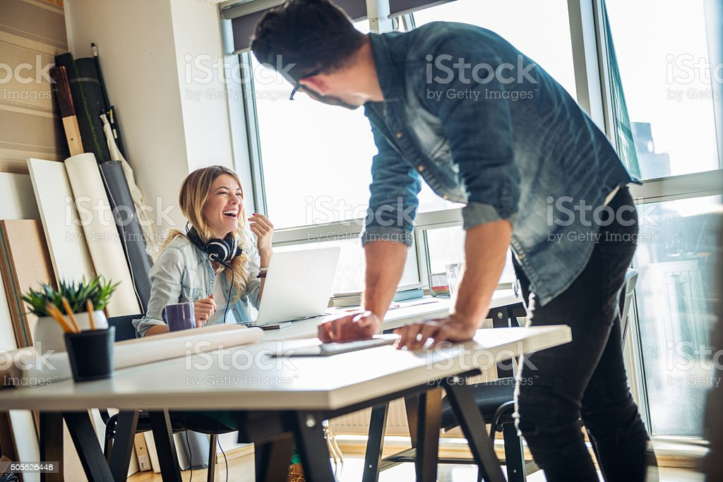Positive environment at work stock photo