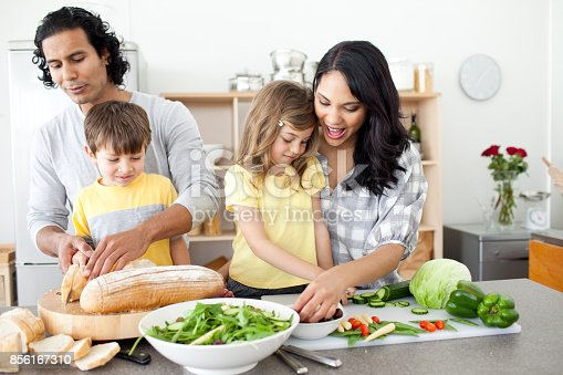 istock Positive family preparing lunch together 856167310