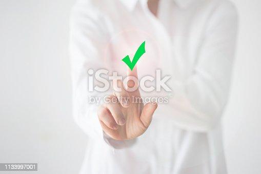 Customer service representative on touch screen.