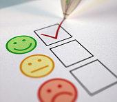 istock Positive Feedback Smileys Survey Tick Box Rating 1255433316