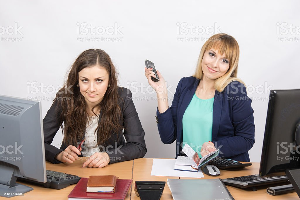 Positive girl office with phone his hand close negative counterpart stock photo