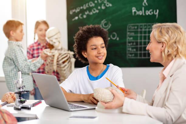 positive fröhliche junge sitzt vor dem computer - lernfortschrittskontrolle stock-fotos und bilder