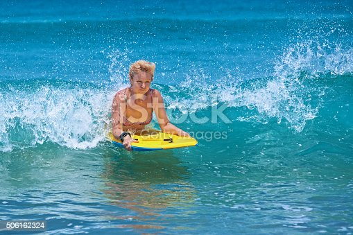 583830686istockphoto Positive mature woman surfing with fun on ocean waves 506162324