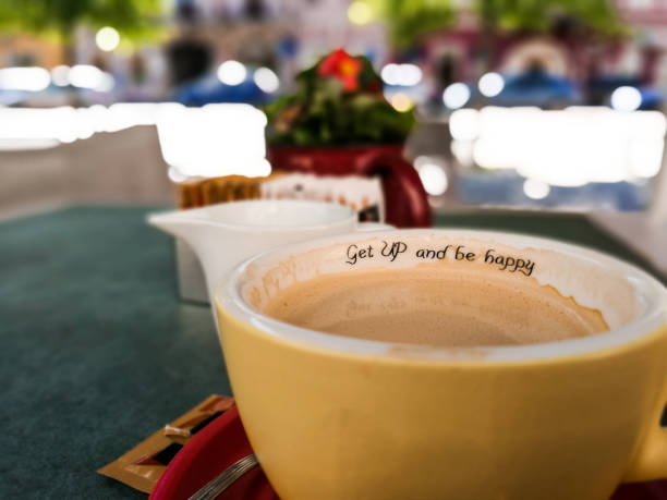 Positive Message Inside Coffee Cup stock photo