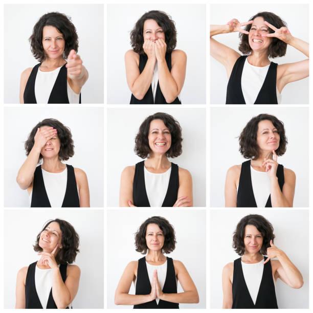 Positive middle aged woman portrait set stock photo