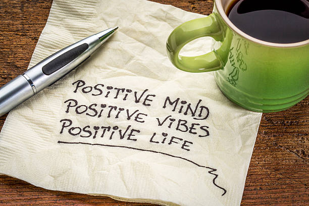 positive mind, vibes and life positive mind,  positive vibes, positive life - motivational handwriting on a napkin with a cup of coffee positive emotion stock pictures, royalty-free photos & images