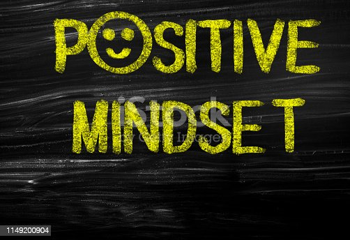 Positive Mindset text on blackboard