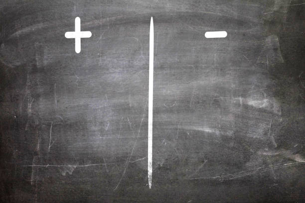 Positive / Negative on chalkboard Positive versus Negative minus sign stock pictures, royalty-free photos & images