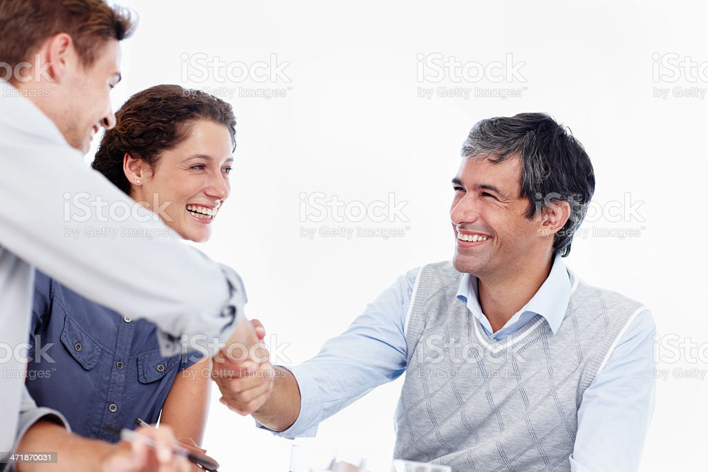 Positive outcome to an upbeat meeting royalty-free stock photo