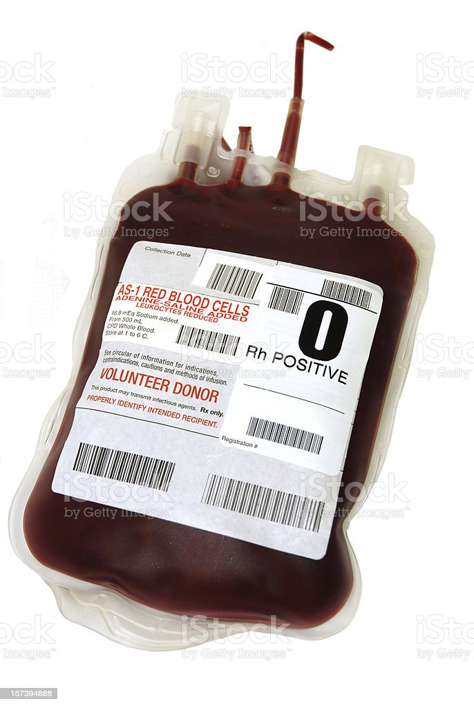 O Positive packed cell blood bag royalty-free stock photo