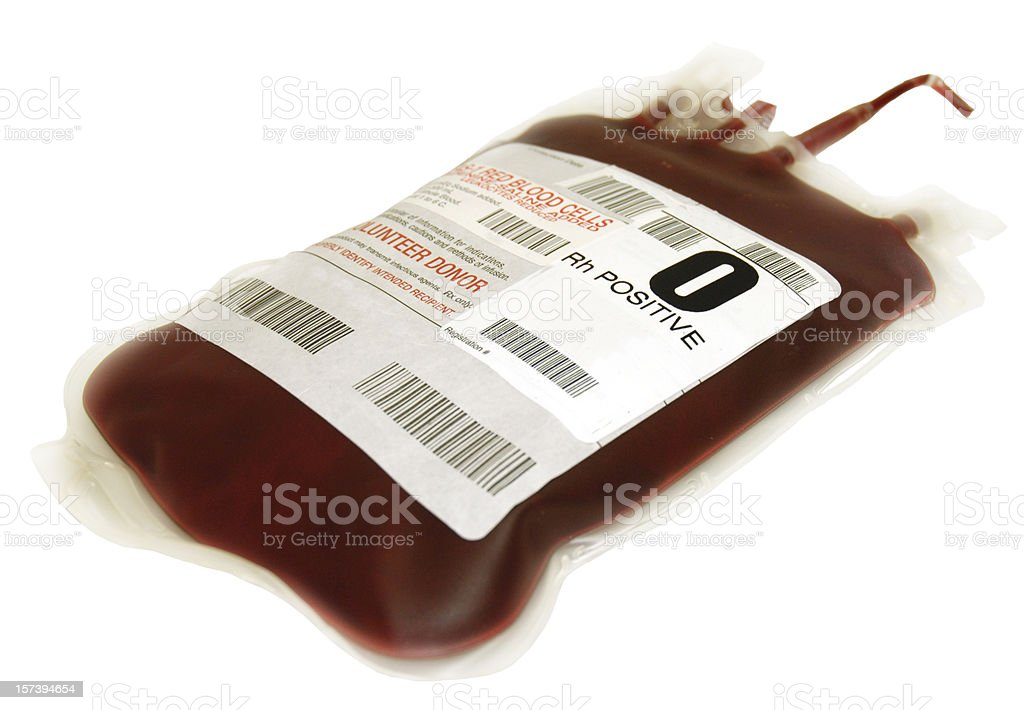 O positive packed cells blood bag stock photo