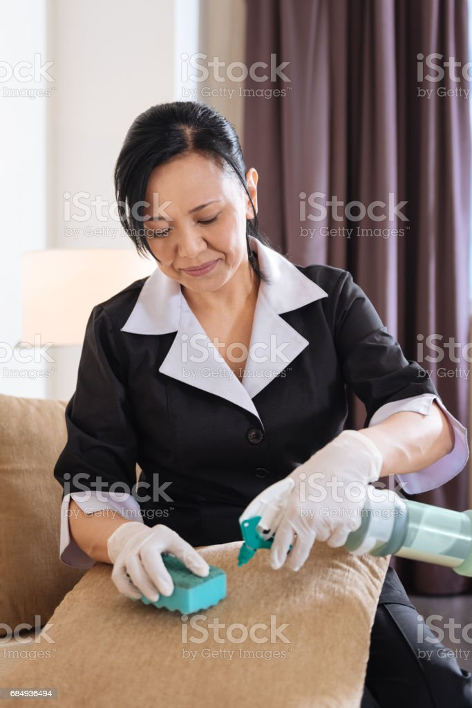 Positive pleasant hotel maid cleaning the cushion stock photo
