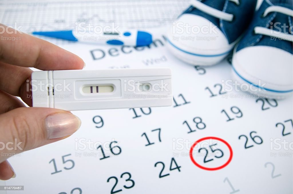 Positive pregnancy test on calendar with date of birth stock photo