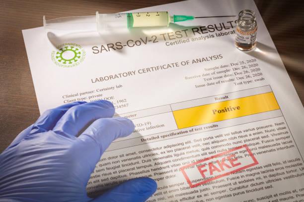Positive test result document for SARS-CoV-2 coronavirus causing COVID-19 stock photo