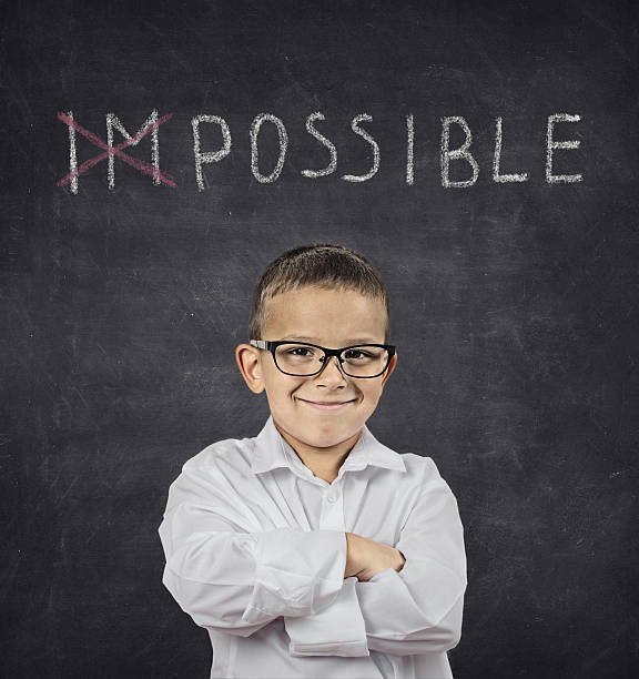 positive thinking attitude concept. confident smart boy - possible stock photos and pictures
