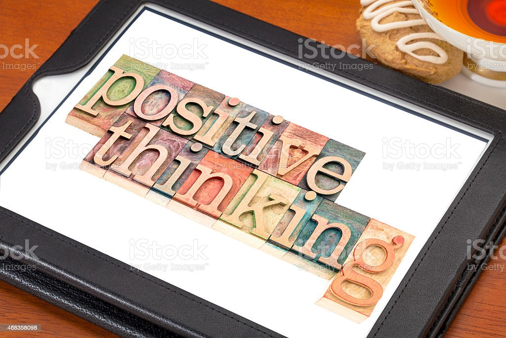 positive thinking typography  on tablet royalty-free stock photo