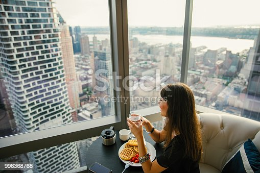 Women have breakfast by amazing city view