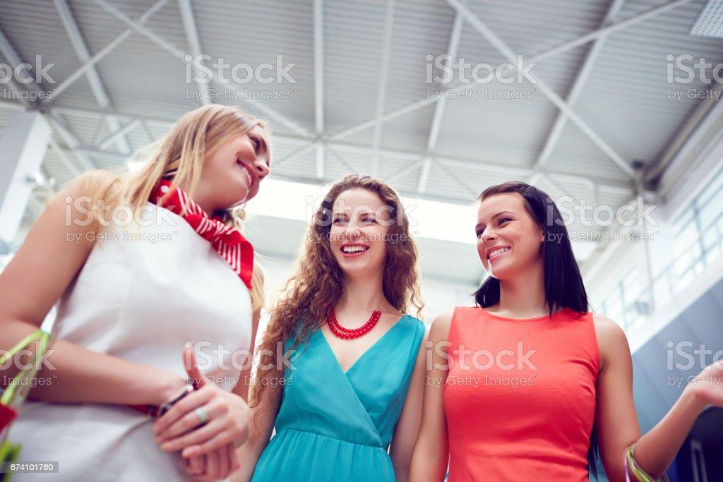Positive women talking royalty-free stock photo