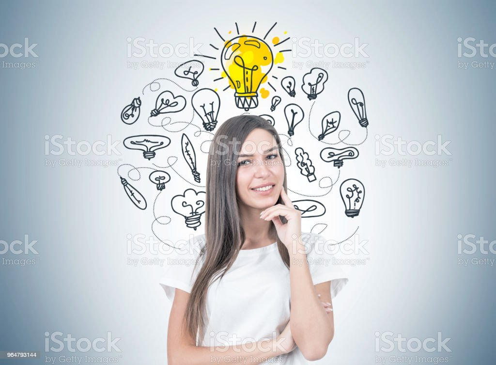 Positive young woman portrait, good idea royalty-free stock photo