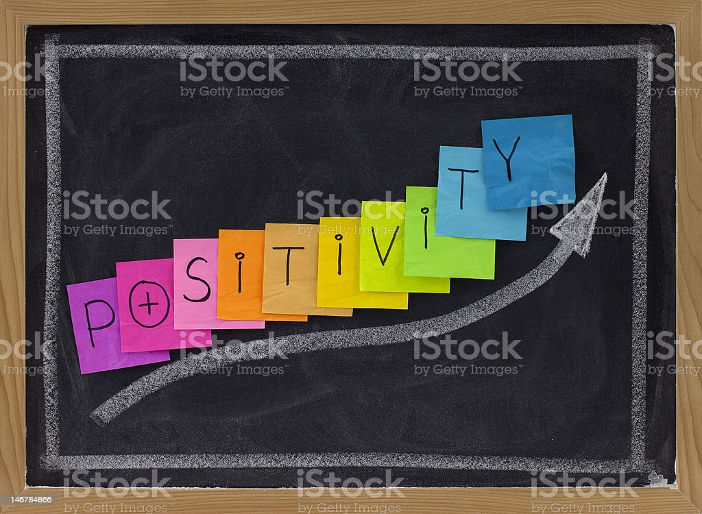positivity concept on blackboard stock photo