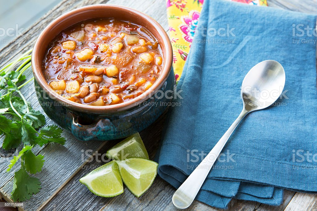 Posole with Lime Horizontal stock photo