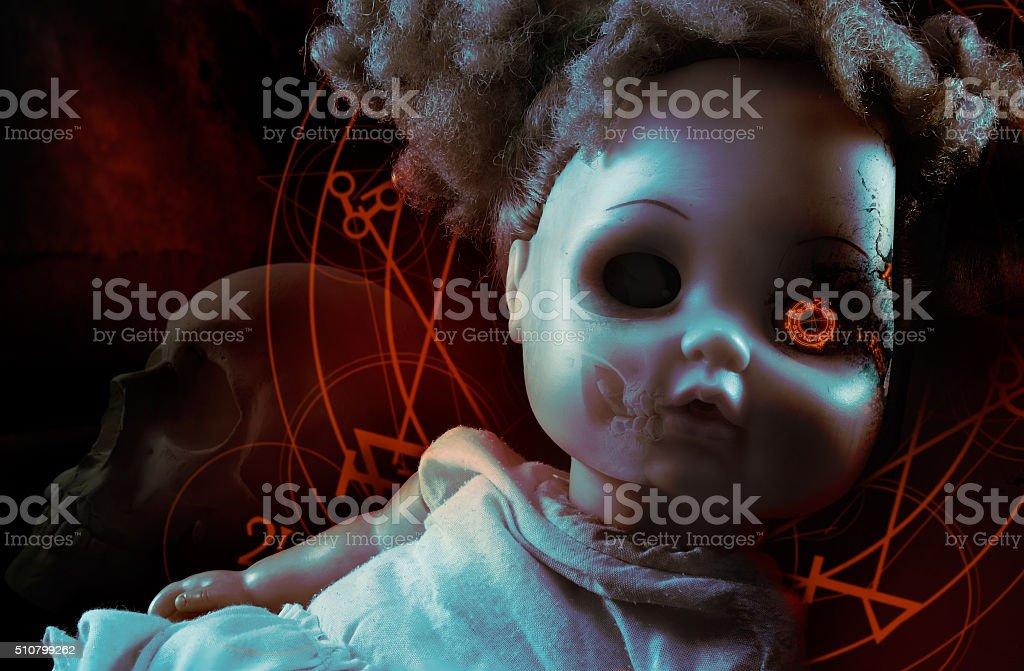 Possessed demonic doll. stock photo