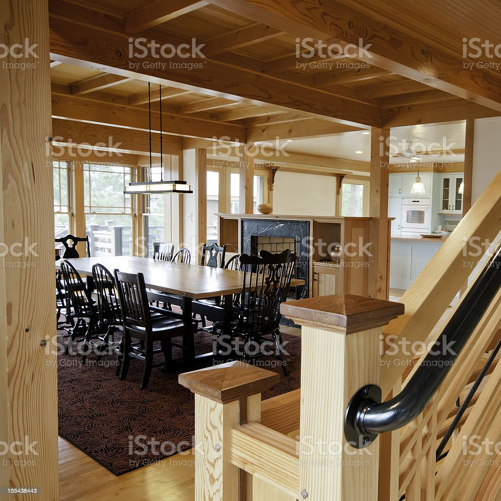 Post And Beam Construction Home Interior Stock Photo
