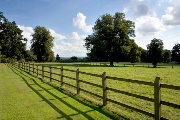 Post and rail fencing Post and rail fencing around a tidy paddock paddock stock pictures, royalty-free photos & images