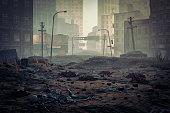 Post apocalypse destroyed city street.