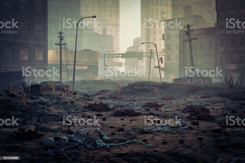 Post apocalypse destroyed city street stock photo