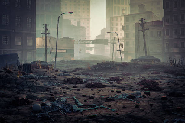 post apocalypse destroyed city street - apocalypse stock photos and pictures