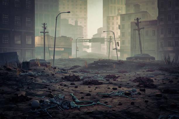 post-apokalypse zerstörte stadtstraße - konflikt stock-fotos und bilder