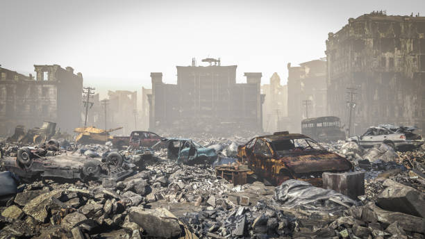 kıyamet sonrası, bir şehrin harabeleri. Kıyamet manzara stok fotoğrafı