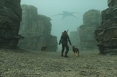 Post apocalypse steampunk character with dogs. This is entirely 3D generated image.