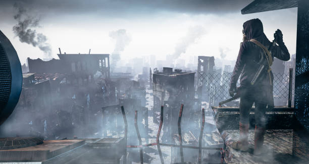 post apocalypse survivor concept, ruins of a city. apocalyptic landscape - depredation stock pictures, royalty-free photos & images