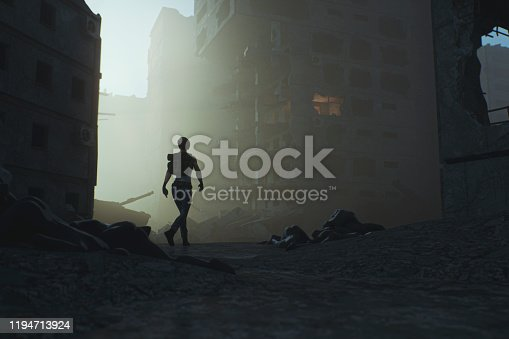 Post apocalypse survivor walking in destroyed city. This is entirely 3D generated image.