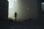 Post apocalypse survivor walking in destroyed city