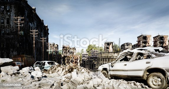 Digitally generated accurate scene of destroyed city/post nuclear city scene with ruined architecture.  The scene was rendered with photorealistic shaders and lighting in Autodesk® 3ds Max 2016 with V-Ray 3.6.